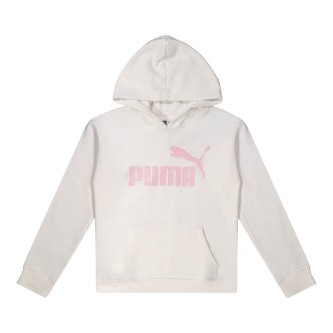 PUMA GIRL'S FLEECE NO.1 LOGO PULLOVER HOODY PUMA WHITE