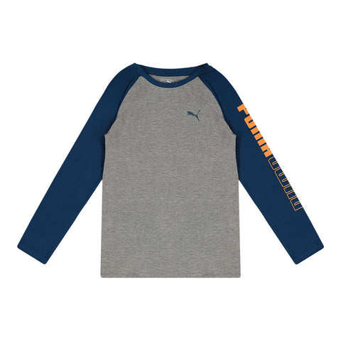 PUMA BOY'S UN-N-DOWN PACK LONG SLEEVE RAGLAN TEE CHARCOAL HEATHER