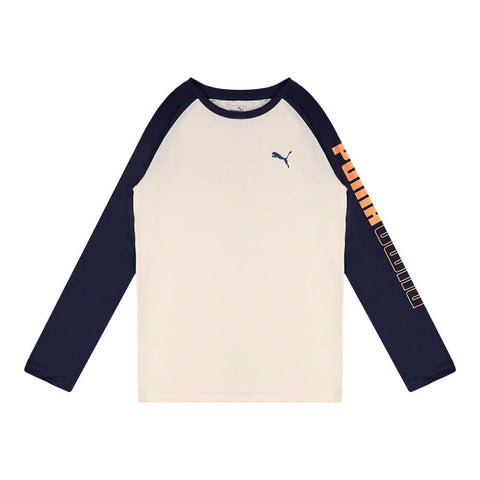 PUMA BOY'S UN-N-DOWN PACK LONG SLEEVE RAGLAN TEE WHISPER WHITE