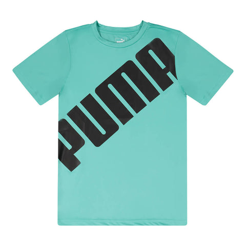 PUMA BOY'S SLANT PACK PERFORMANCE TEE BLUE TURQUOISE
