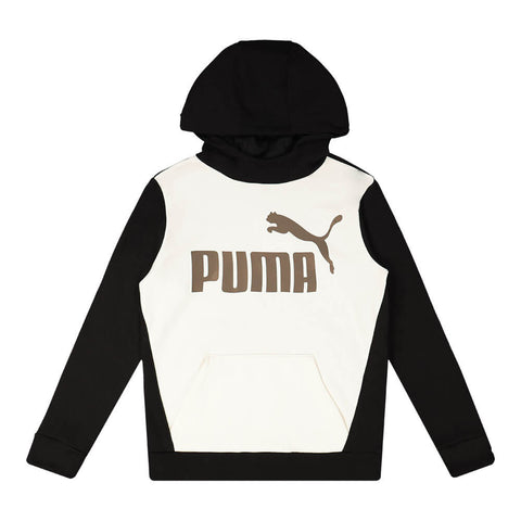 PUMA BOY'S NO.1 LOGO PACK FLEECE COLOUR BLOCK PULLOVER HOODY PUMA BLACK