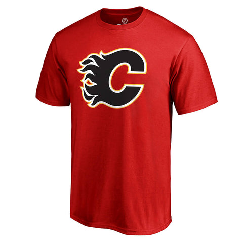 FANATICS MEN'S CALGARY FLAMES PRIMARY LOGO SHORT SLEEVE TOP RED