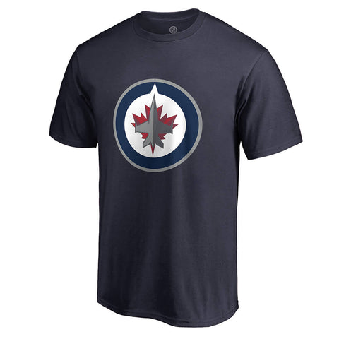 FANATICS MEN'S WINNIPEG JETS PRIMARY LOGO SHORT SLEEVE TOP NAVY