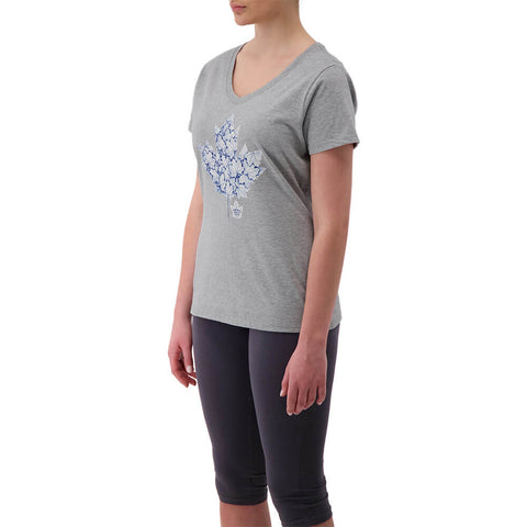 FANATICS WOMEN'S TORONTO MAPLE LEAFS VNECK SHORT SLEEVE TOP ATHLETIC GREY