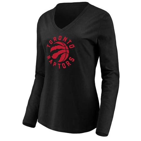 FANATICS WOMEN'S TORONTO RAPTORS VNECK LONG SLEEVE TOP BLACK