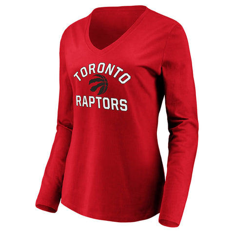 FANATICS WOMEN'S TORONTO RAPTORS VNECK LONG SLEEVE TOP RED