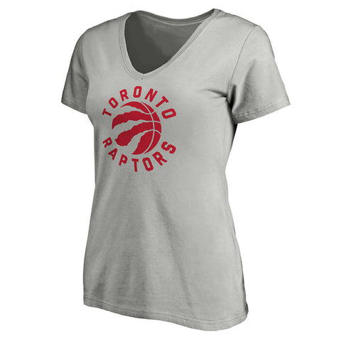 FANATICS WOMEN'S TORONTO RAPTORS VNECK SHORT SLEEVE TOP ATHLETIC GY
