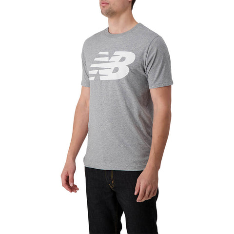 NEW BALANCE MEN'S NB STACKED LOGO SHORT SLEEVE TOP ATHLETIC GREY
