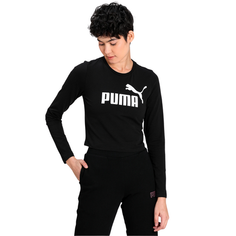 PUMA WOMEN'S ESSENTIAL LOGO LONG SLEEVE FITTED TOP BLACK