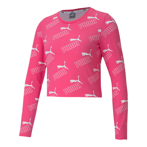 PUMA WOMEN'S AMPLIFIED AOP LONG SLEEVE FITTED TEE GLOWING PINK