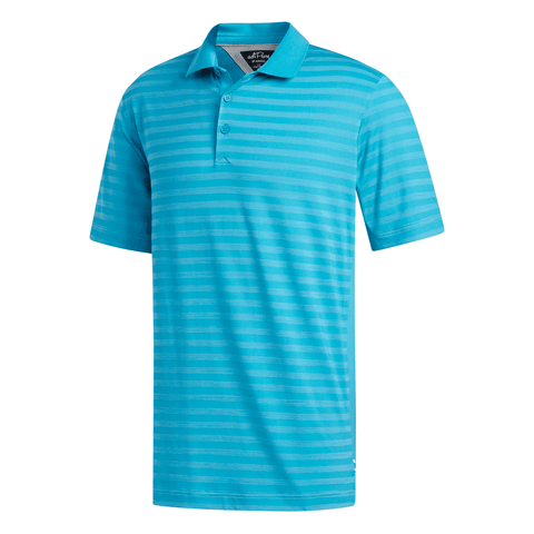 ADIDAS MEN'S PREMIUM STRIPE POLO TOP TURQUOISE