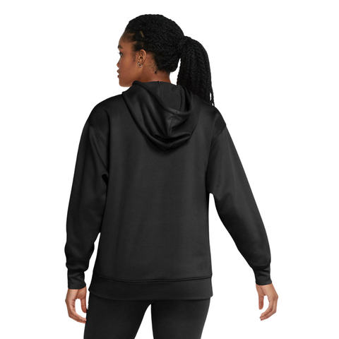 NIKE WOMEN'S ALL TIME THERMA FLEECE ESSENTIAL HOODY BLACK/ WHITE