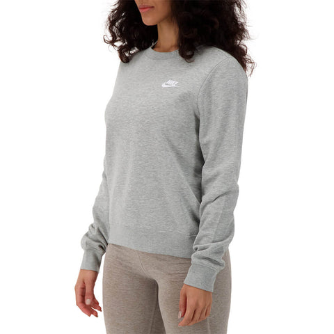 NIKE WOMEN'S NSW CLUB FLEECE CREW DARK GREY/ HEATHER