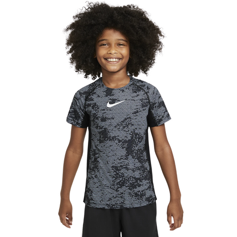 NIKE BOY'S PRO SHORT SLEEVE AOP FITTED TEE BLACK