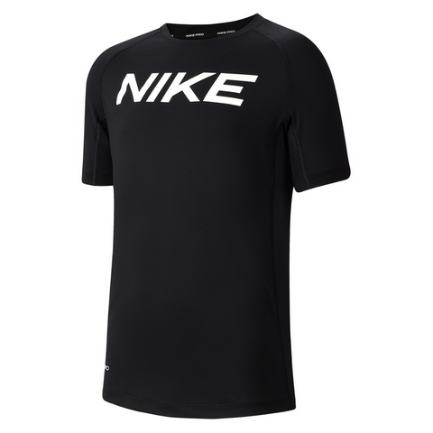 NIKE BOYS SHORT SLEEVE FITTED TOP BLACK