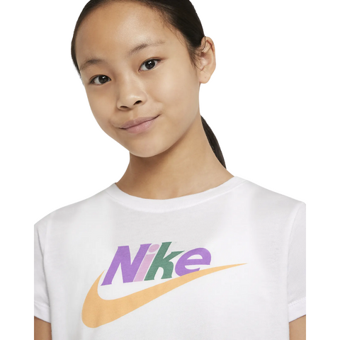 NIKE GIRL'S NSW TEE CROP RETRO MOD FUTURA WHITE