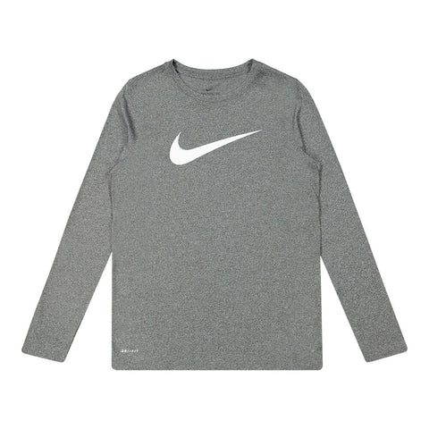 NIKE BOYS DRY LEGEND TEE SOLID BLACK/HEATHER WHITE