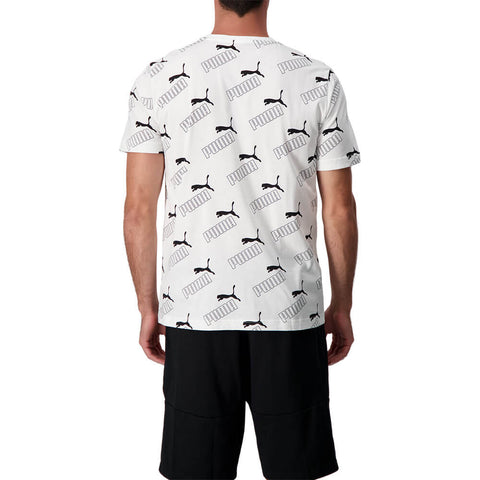 PUMA MEN'S AMPLIFIED AOP SHORT SLEEVE TIP WHITE