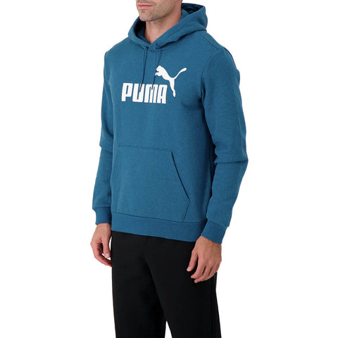 PUMA MEN'S ESSENTIAL+ FLEECE HOODY DIGI BLUE HEATHER