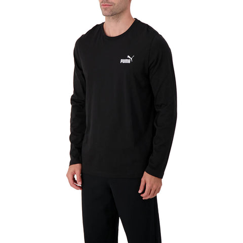 PUMA MEN'S ESSENTIAL #1 LOGO LONG SLEEVE TOP COTTON BLACK
