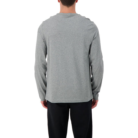 PUMA MEN'S ESSENTIAL #1 LOGO LONG SLEEVE TOP MEDIUM GREY HEATHER