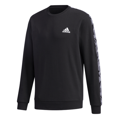 ADIDAS MEN'S TAPE FLEECE CREW BLACK/WHITE