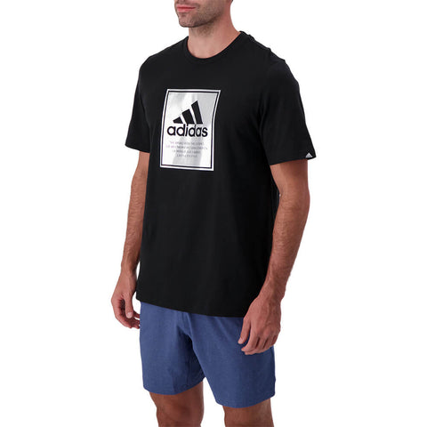 ADIDAS MEN'S LARGE BOX FOIL SHORT SLEEVE TOP BLACK