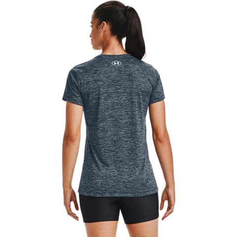 UNDER ARMOUR WOMEN'S TECH SHORT SLEEVE VNECK TWIST MECHANIC BLUE