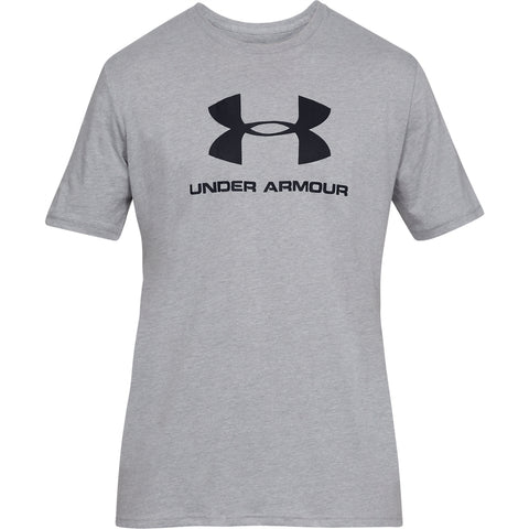 UNDER ARMOUR MEN'S SPORTSTYLE LOGO SHORT SLEEVE TOP STEEL LIGHT HEATHER/BLACK