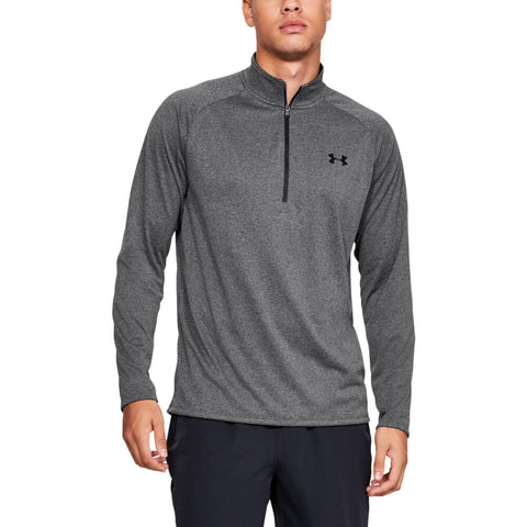 UNDER ARMOUR MEN'S TECH 2.0 1/2 ZIP LONG SLEEVE TOP CARBON HEATHER/BLACK