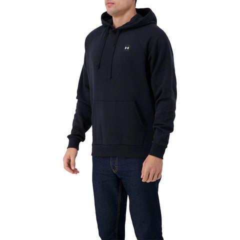 UNDER ARMOUR MEN'S RIVAL FLEECE PULLOVER HOODY BLACK/ONYX WHITE