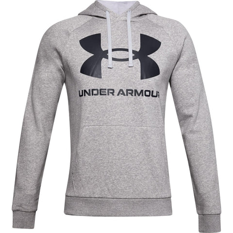 UNDER ARMOUR MEN'S RIVAL FLEECE BIG LOGO HOODY MOD GREY LIGHT HEATHER/BLACK