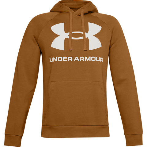 UNDER ARMOUR MEN'S RIVAL FLEECE BIG LOGO HOODY YELLOW OCHRE/WHITE