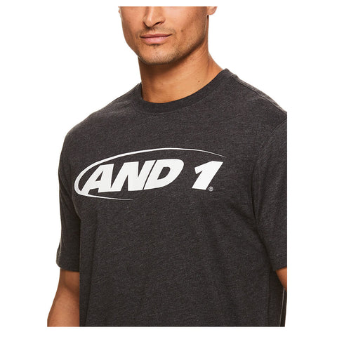 AND 1 MEN'S ICONIC SHORT SLEEVE TOP BLACK HEATHER