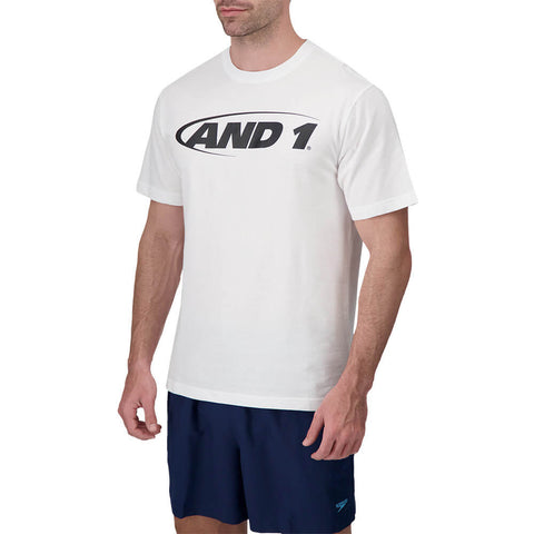 AND 1 MEN'S ICONIC SHORT SLEEVE TOP STARK WHITE