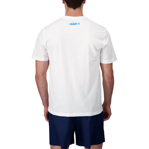 AND 1 MEN'S ALL CITY SHORT SLEEVE TOP STARK WHITE/BLUE