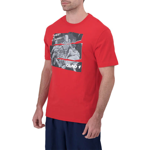 AND 1 MEN'S HARD TO GUARD SHORT SLEEVE TOP TRUE RED