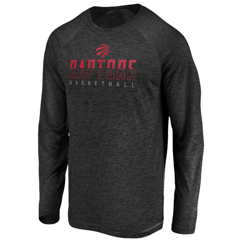 FANATICS MENS TORONTO RAPTORS ICONIC SPLIT TONE LONG SLEEVE TOP BLACK STRIATED