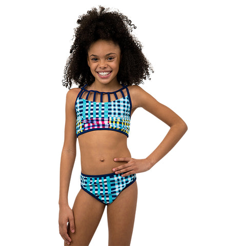 JANTZEN GIRL'S 2 PIECE BIKINI GINGHAM PLAID WITH STRIPES MULTI