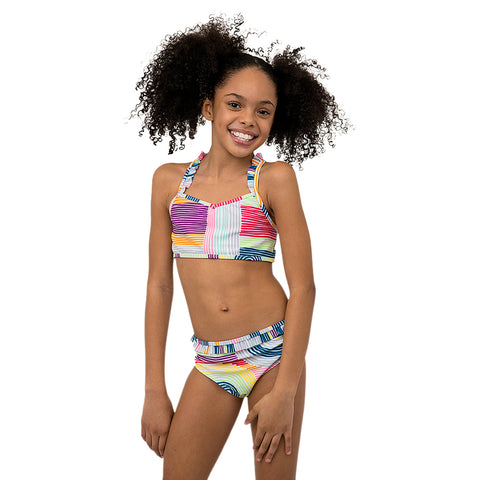 JANTZEN GIRL'S GROOVY 2 PIECE BIKINI WITH RUFFLE TRIM MULTI