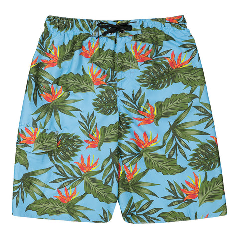 BURNSIDE BOY'S SWIM SHORT FLORAL BLUE