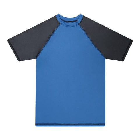 BURNSIDE BOY'S SWIM RASHGUARD SHORT SLEEVE ROYAL