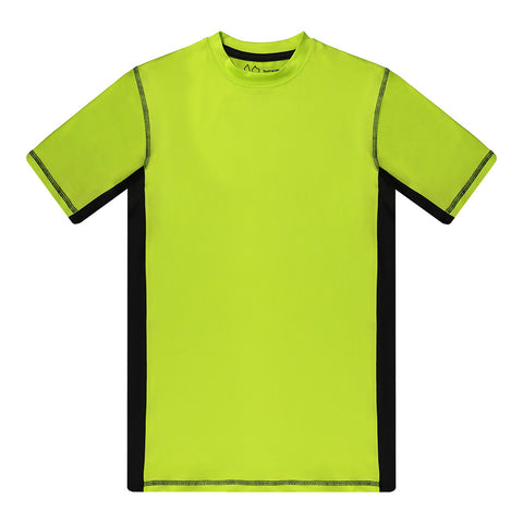 BURNSIDE BOY'S SWIM RASHGUARD SHORT SLEEVE LIME