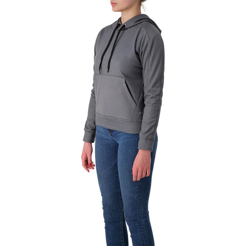 ELLE SPORTSWEAR WOMEN'S POLY FLEECE AOP HOODY STEEL GREY