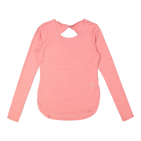 ELLE SPORTSWEAR WOMEN'S OPEN BACK LONGSLEEVE TOP DUSTY PINK