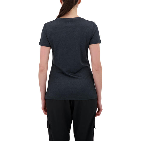FILA WOMEN'S SILKY V-NECK TEE BLACK HEATHER