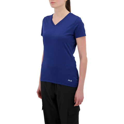 FILA WOMEN'S SILKY V-NECK TEE DEEP ULTRA MARINE HEATHER