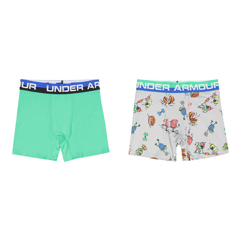 UNDER ARMOUR BOY'S 2 PACK BBQ BOXER SET MOD GRAY