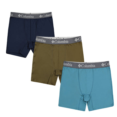 COLUMBIA MEN'S 3 PACK SOLID UNDERWEAR BLUE/OLIVE/NAVY