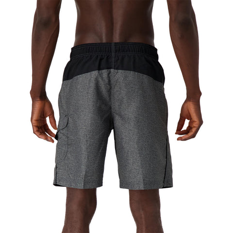 SPEEDO MEN'S MARINA COLORBLOCK VOLLEY SWIM TRUNKS HEATHER GREY